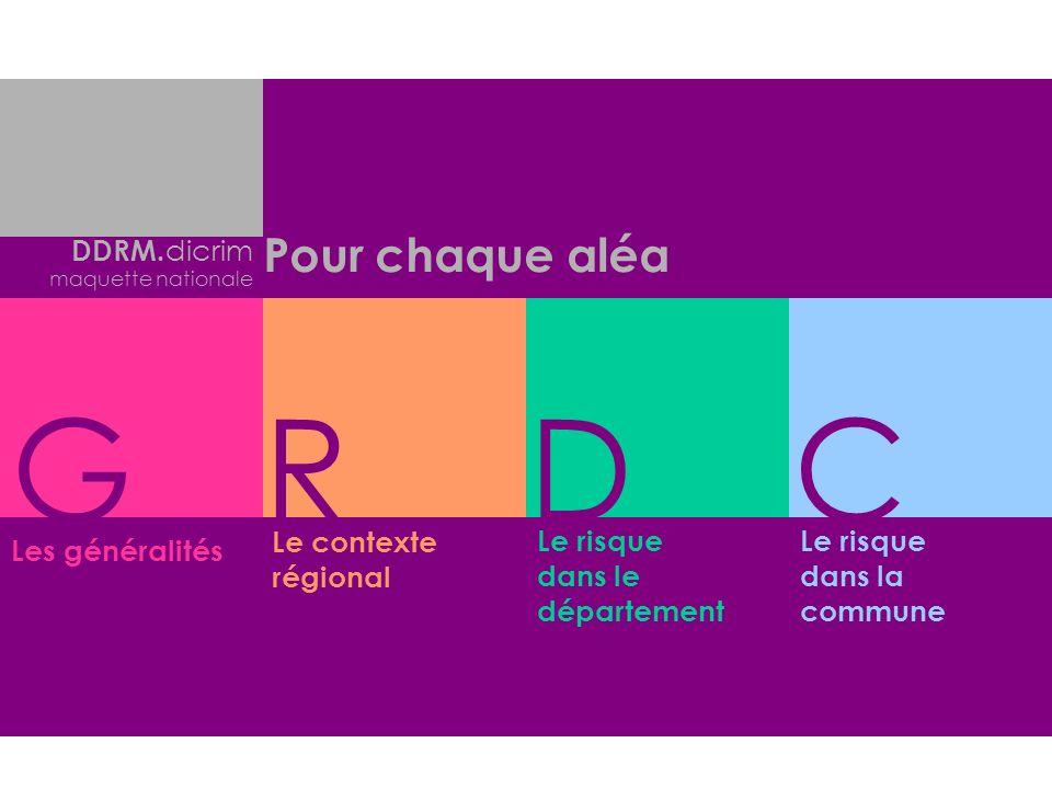 Le contexte régional Le risque dans le département Le risque dans la commune Les généralités Pour chaque aléa GRDC DDRM. dicrim maquette nationale