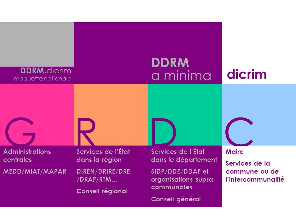 Services de lÉtat dans le département SIDP/DDE/DDAF et organisations supra communales Conseil général DDRM a minima GRDC DDRM. dicrim maquette nationa