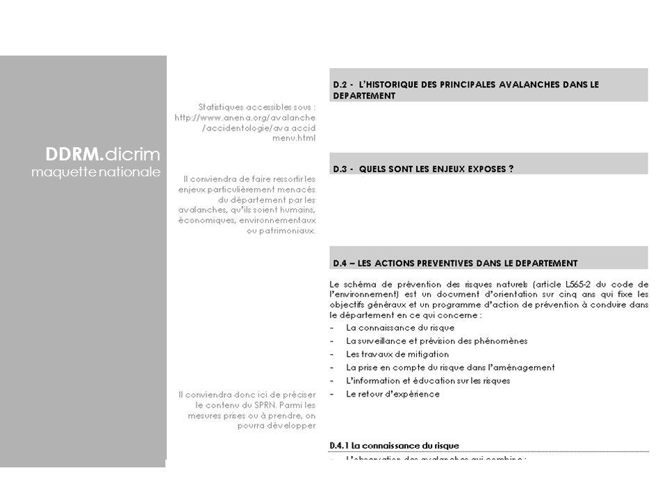 DDRM. dicrim maquette nationale généralités région généralités département