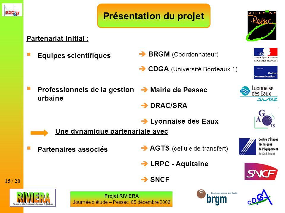 15 / 20 Projet RIVIERA Journée détude – Pessac, 05 décembre 2006 Partenariat initial : Equipes scientifiques Professionnels de la gestion urbaine Part