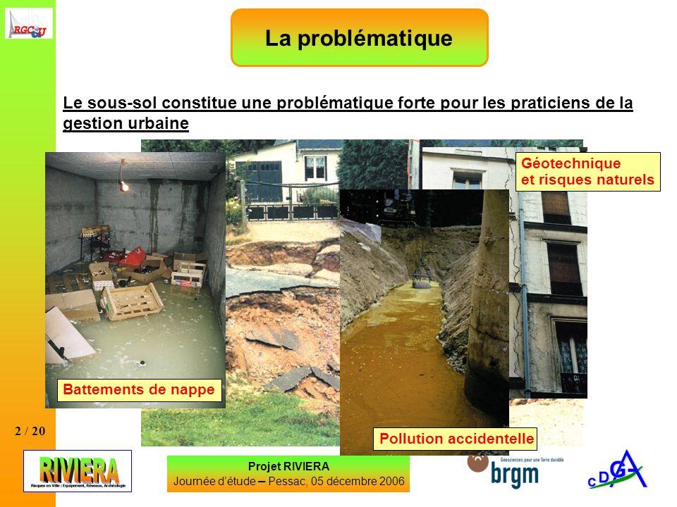 2 / 20 La problématique Le sous-sol constitue une problématique forte pour les praticiens de la gestion urbaine Projet RIVIERA Journée détude – Pessac