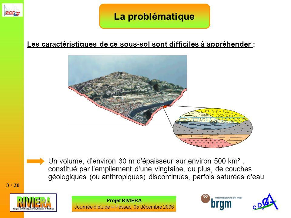 3 / 20 Les caractéristiques de ce sous-sol sont difficiles à appréhender : Projet RIVIERA Journée détude – Pessac, 05 décembre 2006 La problématique U