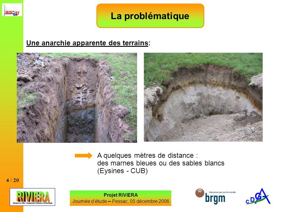 4 / 20 Une anarchie apparente des terrains: Projet RIVIERA Journée détude – Pessac, 05 décembre 2006 La problématique A quelques mètres de distance :