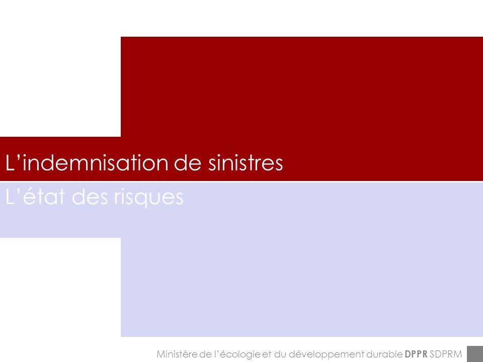 ENPC-7&8-12-2005 Lindemnisation de sinistres Ministère de lécologie et du développement durable DPPR SDPRM Létat des risques