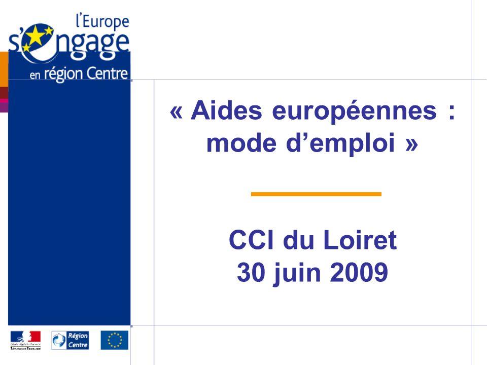 « Aides européennes : mode demploi » CCI du Loiret 30 juin 2009
