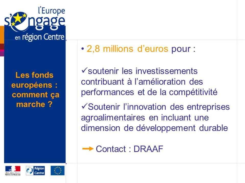 2,8 millions deuros pour : soutenir les investissements contribuant à lamélioration des performances et de la compétitivité Soutenir linnovation des entreprises agroalimentaires en incluant une dimension de développement durable Contact : DRAAF Les fonds européens : comment ça marche