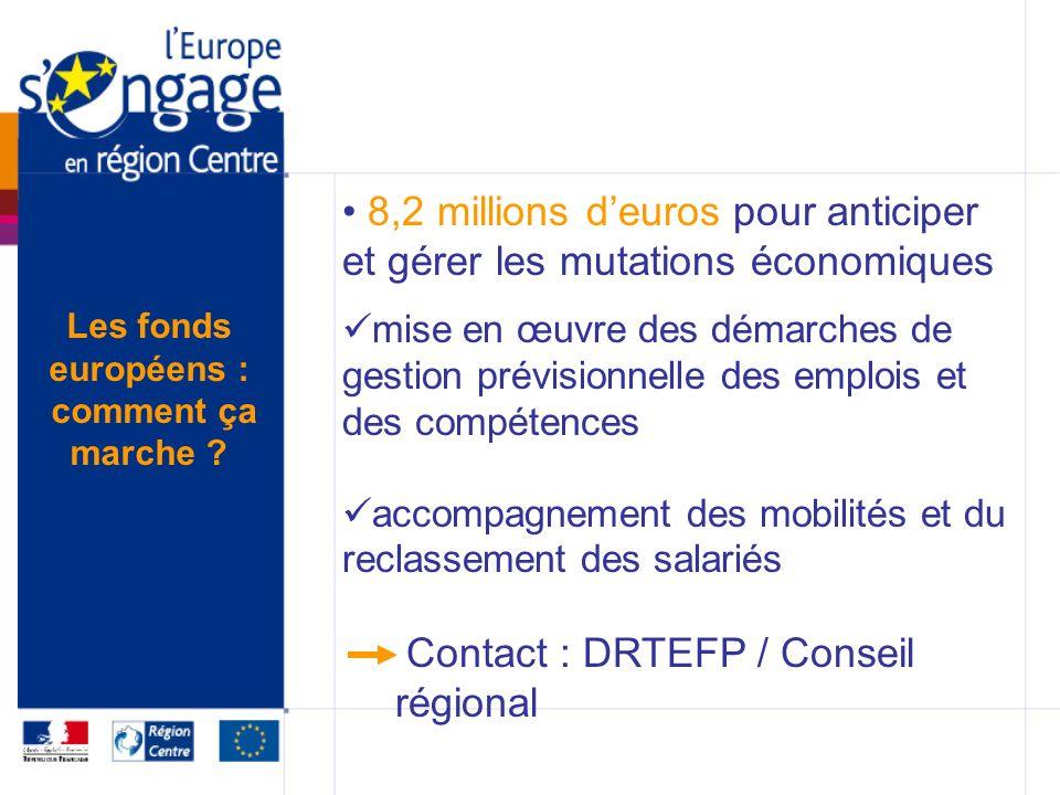 8,2 millions deuros pour anticiper et gérer les mutations économiques mise en œuvre des démarches de gestion prévisionnelle des emplois et des compétences accompagnement des mobilités et du reclassement des salariés Contact : DRTEFP / Conseil régional Les fonds européens : comment ça marche