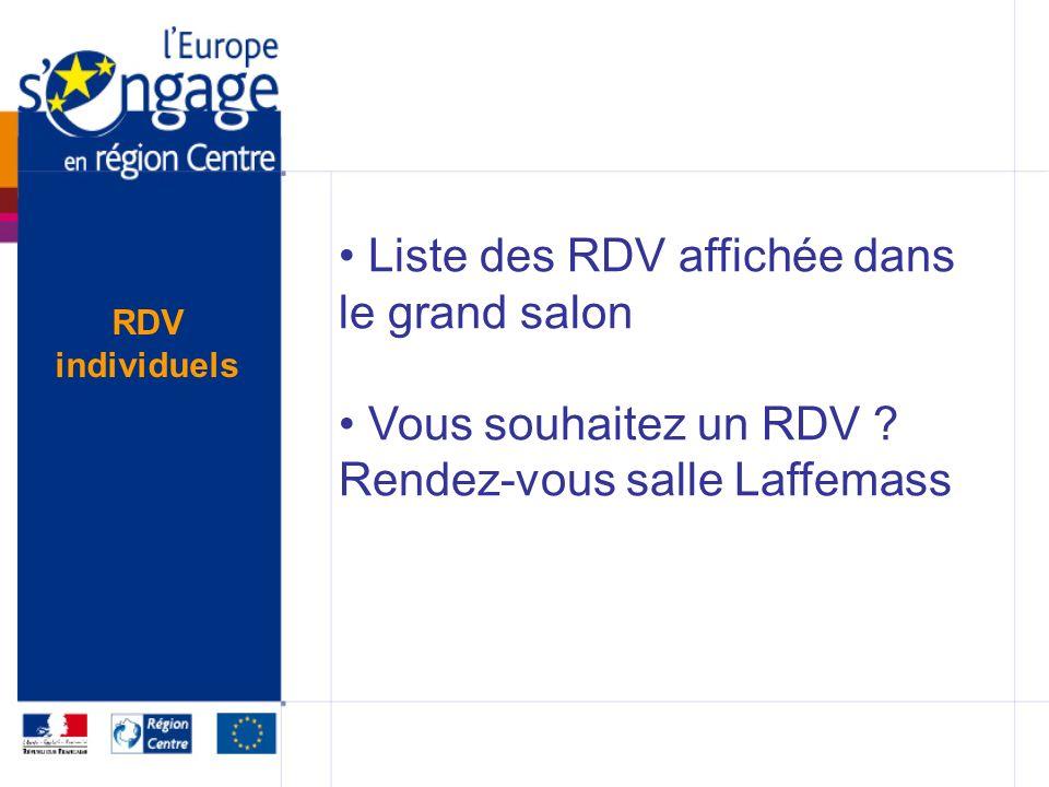 Liste des RDV affichée dans le grand salon Vous souhaitez un RDV .