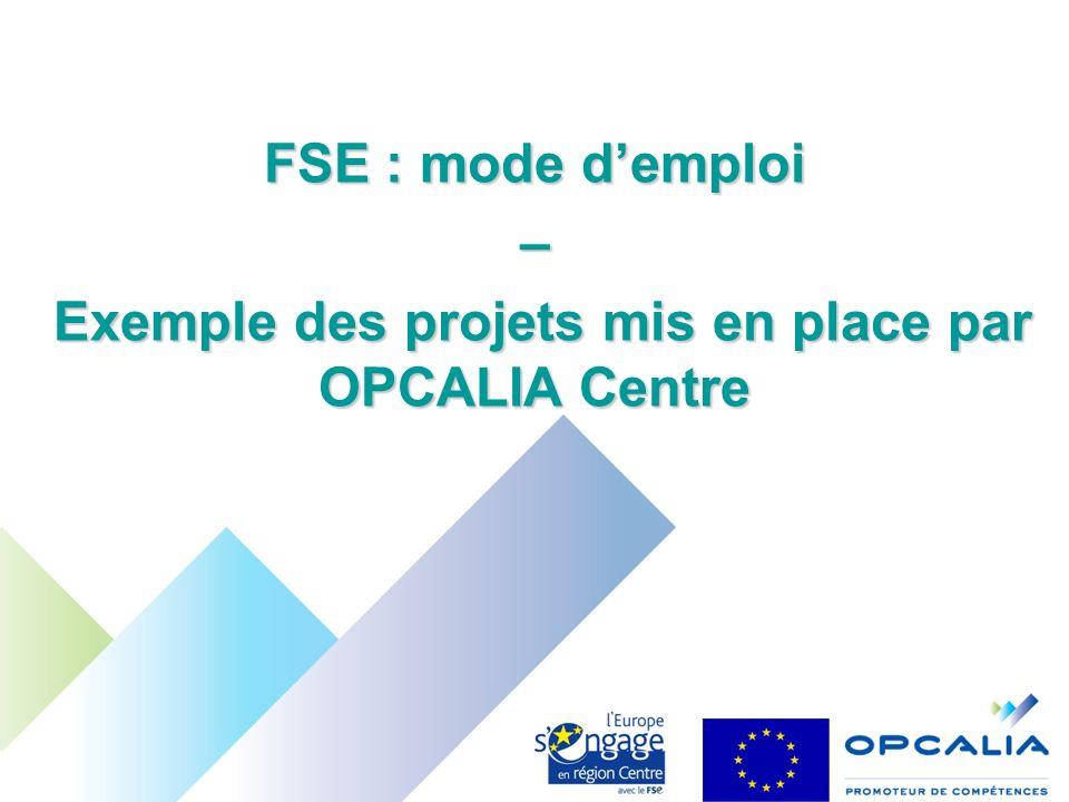 FSE : mode demploi – Exemple des projets mis en place par OPCALIA Centre Exemple des projets mis en place par OPCALIA Centre