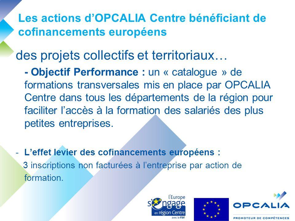 Les actions dOPCALIA Centre bénéficiant de cofinancements européens des projets collectifs et territoriaux… - Objectif Performance : un « catalogue » de formations transversales mis en place par OPCALIA Centre dans tous les départements de la région pour faciliter laccès à la formation des salariés des plus petites entreprises.