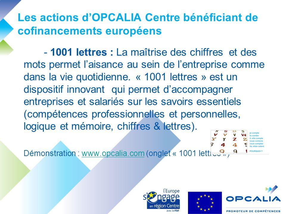 Les actions dOPCALIA Centre bénéficiant de cofinancements européens - 1001 lettres : La maîtrise des chiffres et des mots permet laisance au sein de lentreprise comme dans la vie quotidienne.