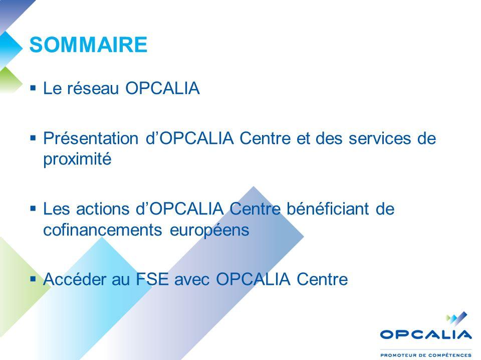 SOMMAIRE Le réseau OPCALIA Présentation dOPCALIA Centre et des services de proximité Les actions dOPCALIA Centre bénéficiant de cofinancements européens Accéder au FSE avec OPCALIA Centre