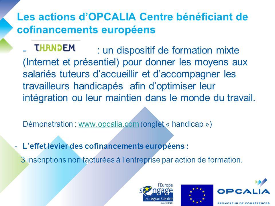 Les actions dOPCALIA Centre bénéficiant de cofinancements européens - : un dispositif de formation mixte (Internet et présentiel) pour donner les moyens aux salariés tuteurs daccueillir et daccompagner les travailleurs handicapés afin doptimiser leur intégration ou leur maintien dans le monde du travail.