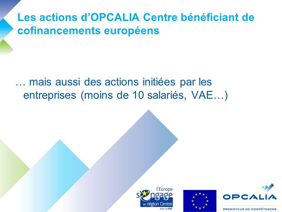 Les actions dOPCALIA Centre bénéficiant de cofinancements européens … mais aussi des actions initiées par les entreprises (moins de 10 salariés, VAE…)