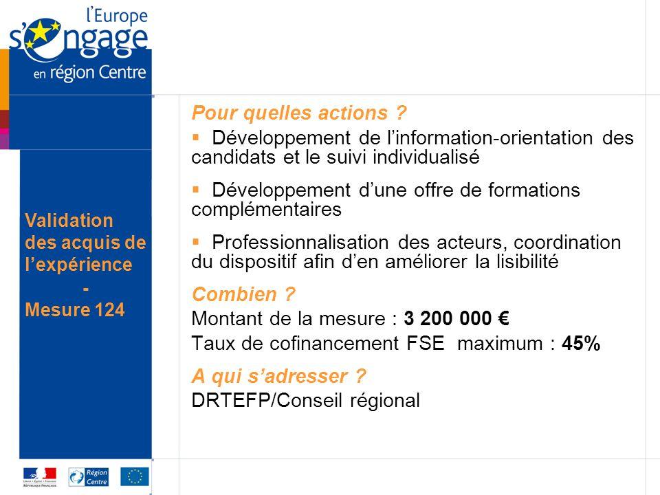 Pour quelles actions ? Développement de linformation-orientation des candidats et le suivi individualisé Développement dune offre de formations complé