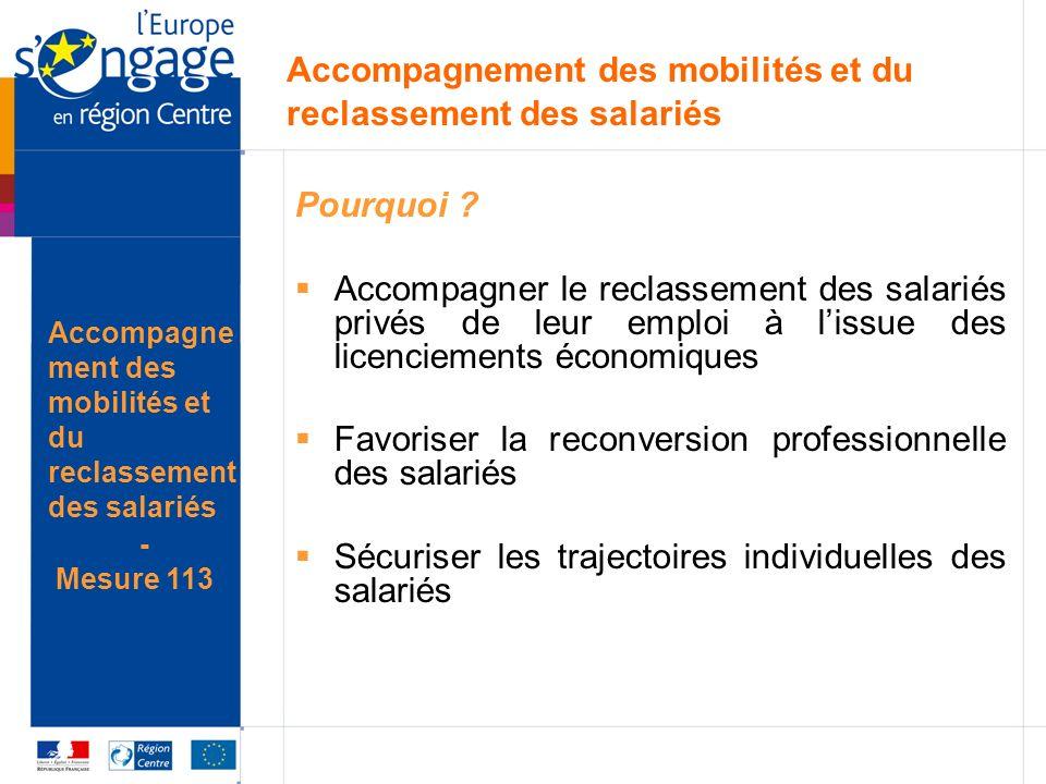 Accompagnement des mobilités et du reclassement des salariés Pourquoi ? Accompagner le reclassement des salariés privés de leur emploi à lissue des li