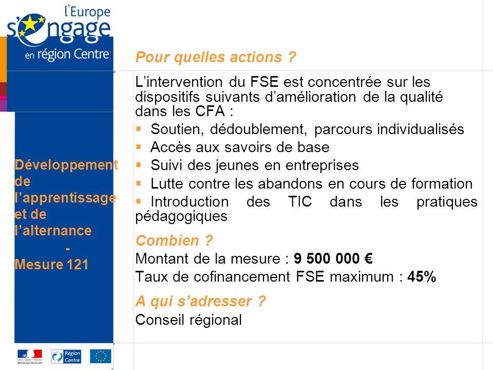 Pour quelles actions ? Lintervention du FSE est concentrée sur les dispositifs suivants damélioration de la qualité dans les CFA : Soutien, dédoubleme