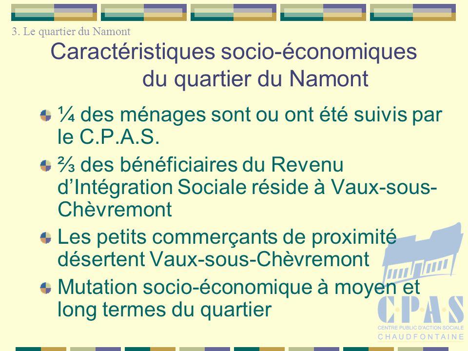 Caractéristiques socio-économiques du quartier du Namont ¼ des ménages sont ou ont été suivis par le C.P.A.S. des bénéficiaires du Revenu dIntégration