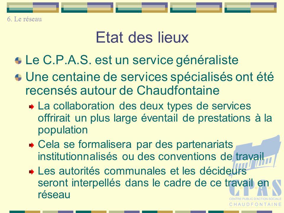 Etat des lieux 6. Le réseau Le C.P.A.S. est un service généraliste Une centaine de services spécialisés ont été recensés autour de Chaudfontaine La co