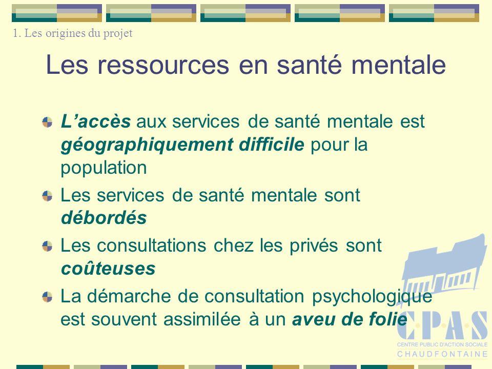 Les ressources en santé mentale Laccès aux services de santé mentale est géographiquement difficile pour la population Les services de santé mentale s