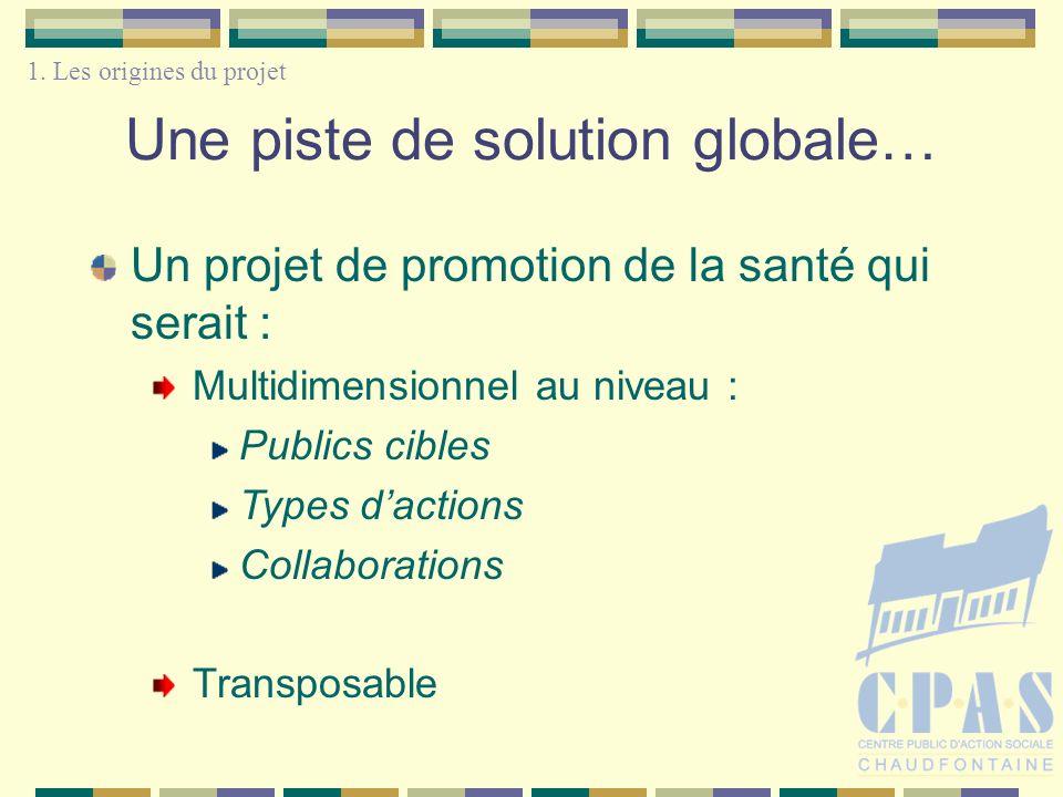 Une piste de solution globale… Un projet de promotion de la santé qui serait : Multidimensionnel au niveau : Publics cibles Types dactions Collaborations Transposable 1.