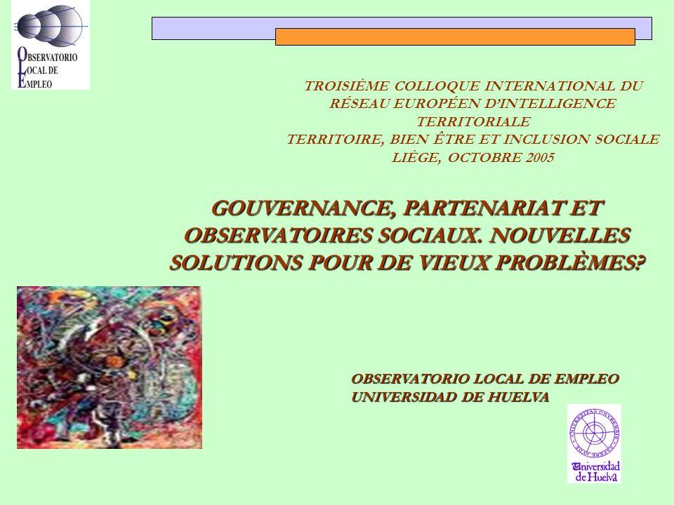 GOUVERNANCE, PARTENARIAT ET OBSERVATOIRES SOCIAUX.
