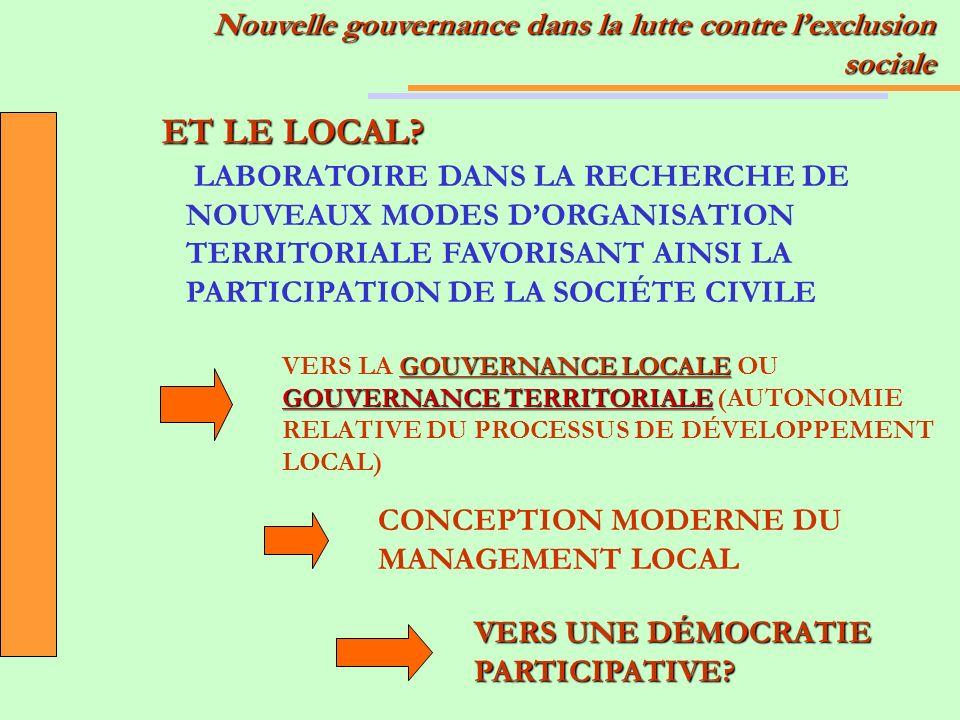 LABORATOIRE DANS LA RECHERCHE DE NOUVEAUX MODES DORGANISATION TERRITORIALE FAVORISANT AINSI LA PARTICIPATION DE LA SOCIÉTE CIVILE GOUVERNANCE LOCALE GOUVERNANCE TERRITORIALE VERS LA GOUVERNANCE LOCALE OU GOUVERNANCE TERRITORIALE (AUTONOMIE RELATIVE DU PROCESSUS DE DÉVELOPPEMENT LOCAL) ET LE LOCAL.