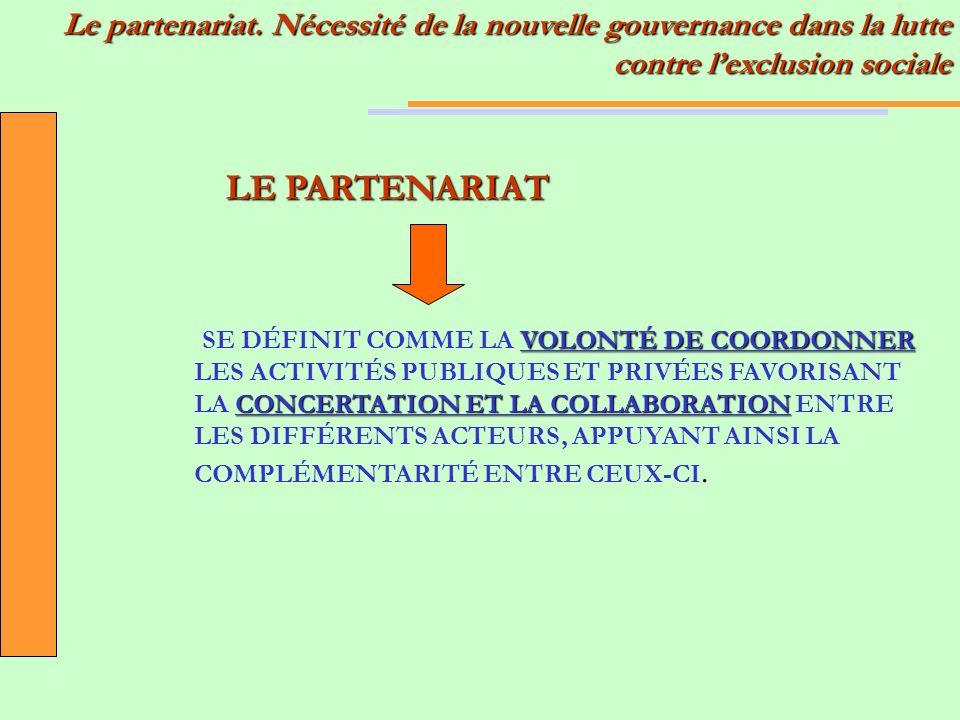 Le partenariat. Nécessité de la nouvelle gouvernance dans la lutte contre lexclusion sociale VOLONTÉ DE COORDONNER CONCERTATION ET LA COLLABORATION SE