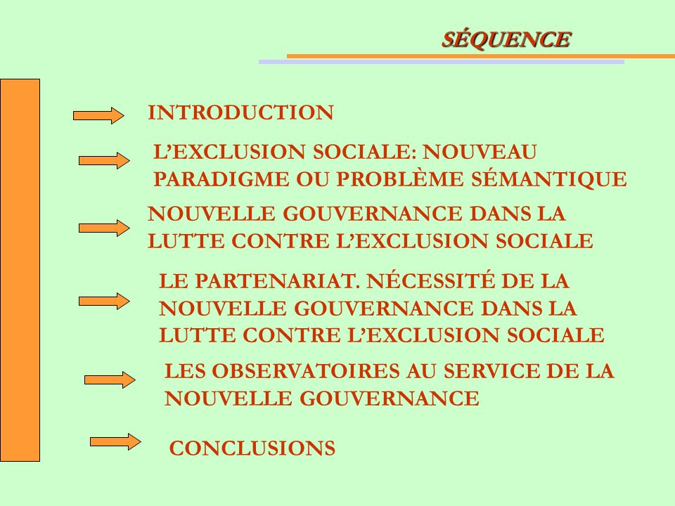 SÉQUENCE INTRODUCTION LEXCLUSION SOCIALE: NOUVEAU PARADIGME OU PROBLÈME SÉMANTIQUE NOUVELLE GOUVERNANCE DANS LA LUTTE CONTRE LEXCLUSION SOCIALE LE PARTENARIAT.