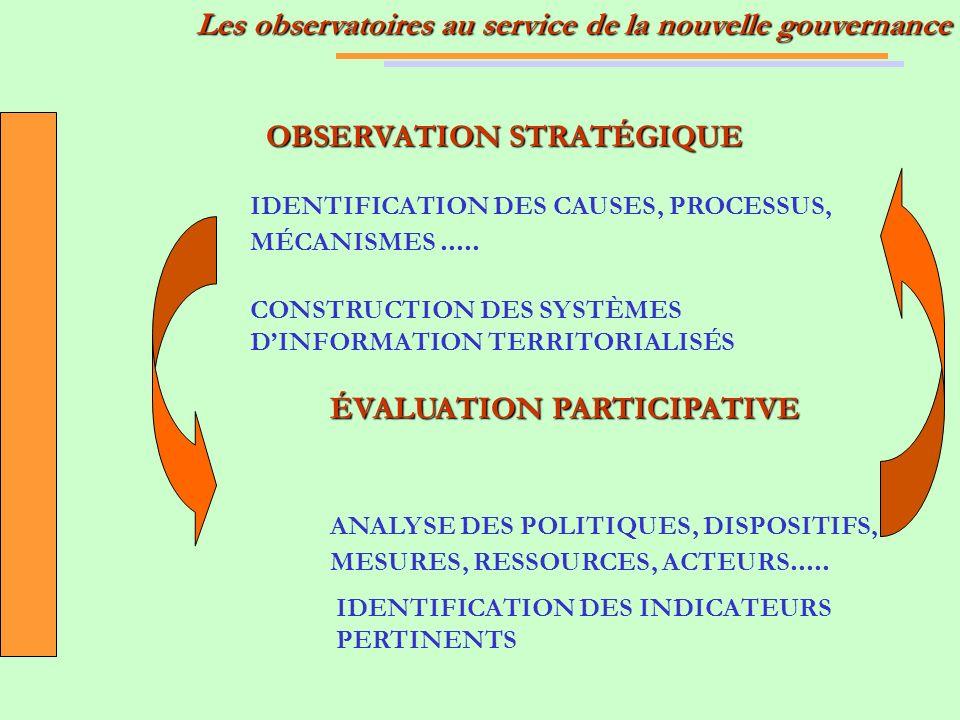 OBSERVATION STRATÉGIQUE IDENTIFICATION DES CAUSES, PROCESSUS, MÉCANISMES..... CONSTRUCTION DES SYSTÈMES DINFORMATION TERRITORIALISÉS ÉVALUATION PARTIC