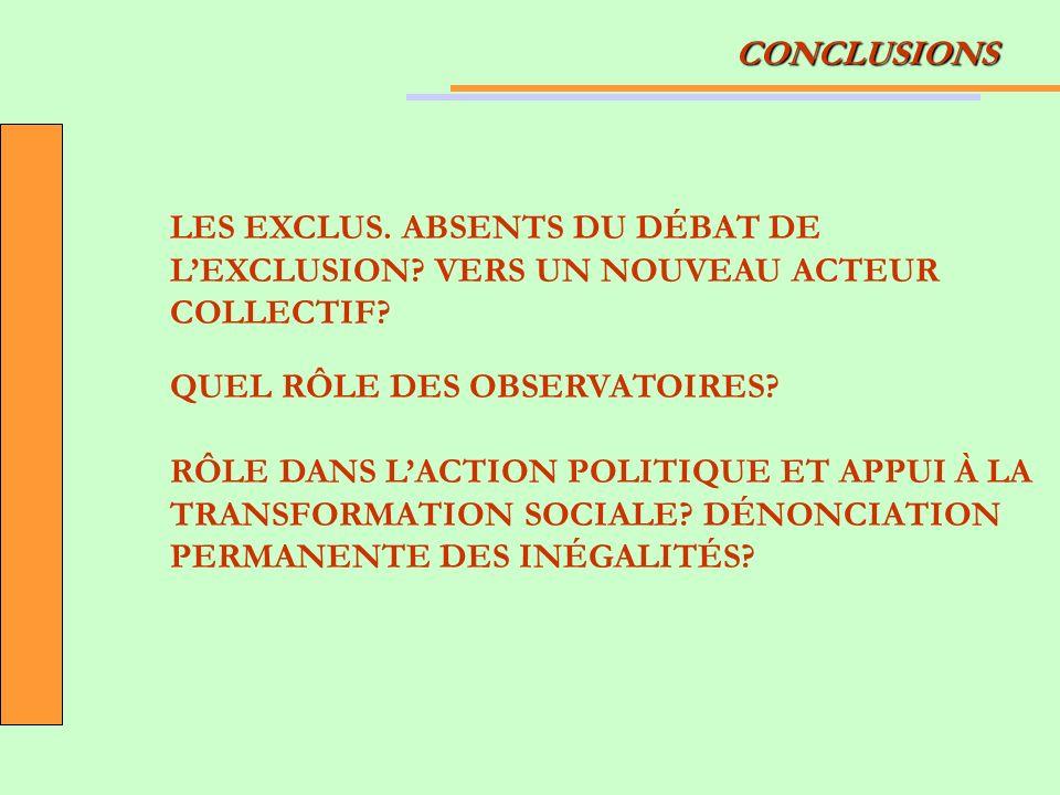 CONCLUSIONS LES EXCLUS. ABSENTS DU DÉBAT DE LEXCLUSION? VERS UN NOUVEAU ACTEUR COLLECTIF? QUEL RÔLE DES OBSERVATOIRES? RÔLE DANS LACTION POLITIQUE ET