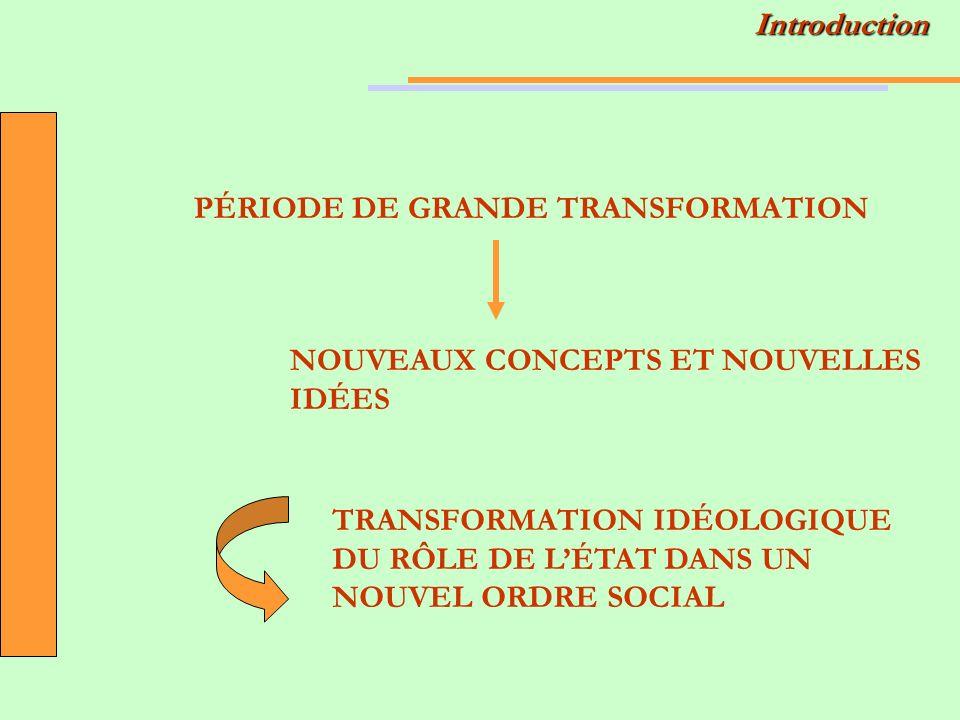 PÉRIODE DE GRANDE TRANSFORMATION NOUVEAUX CONCEPTS ET NOUVELLES IDÉES TRANSFORMATION IDÉOLOGIQUE DU RÔLE DE LÉTAT DANS UN NOUVEL ORDRE SOCIALIntroduction