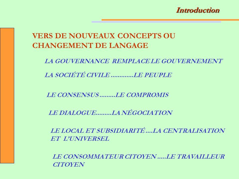 VERS DE NOUVEAUX CONCEPTS OU CHANGEMENT DE LANGAGE LA GOUVERNANCE REMPLACE LE GOUVERNEMENT LA SOCIÉTÉ CIVILE.............LE PEUPLE LE CONSENSUS.........LE COMPROMIS LE DIALOGUE.........LA NÉGOCIATION LE LOCAL ET SUBSIDIARITÉ....LA CENTRALISATION ET LUNIVERSEL LE CONSOMMATEUR CITOYEN.....LE TRAVAILLEUR CITOYEN Introduction