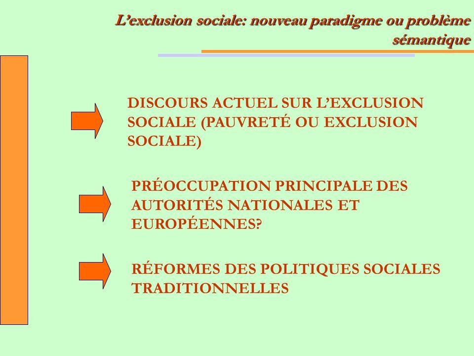 Lexclusion sociale: nouveau paradigme ou problème sémantique DISCOURS ACTUEL SUR LEXCLUSION SOCIALE (PAUVRETÉ OU EXCLUSION SOCIALE) PRÉOCCUPATION PRINCIPALE DES AUTORITÉS NATIONALES ET EUROPÉENNES.