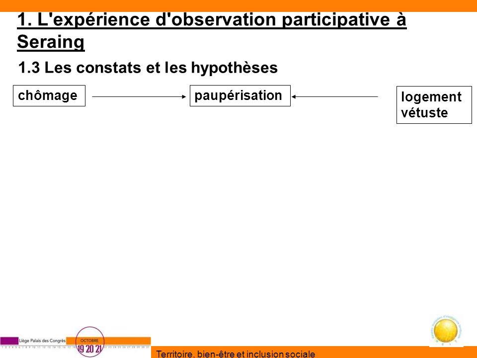 Territoire, bien-être et inclusion sociale 1. L'expérience d'observation participative à Seraing 1.3 Les constats et les hypothèses chômagepaupérisati