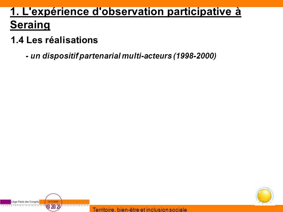Territoire, bien-être et inclusion sociale 1. L'expérience d'observation participative à Seraing 1.4 Les réalisations - un dispositif partenarial mult