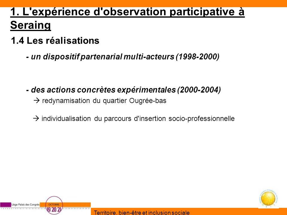 1. L'expérience d'observation participative à Seraing 1.4 Les réalisations - un dispositif partenarial multi-acteurs (1998-2000) - des actions concrèt