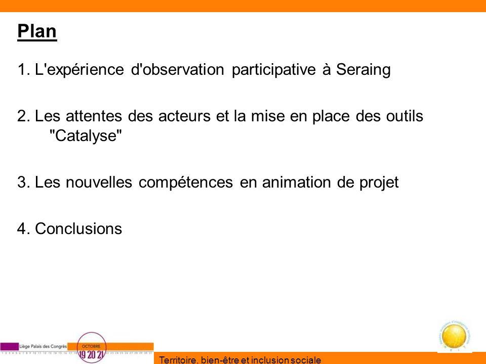 Territoire, bien-être et inclusion sociale Plan 1. L'expérience d'observation participative à Seraing 2. Les attentes des acteurs et la mise en place