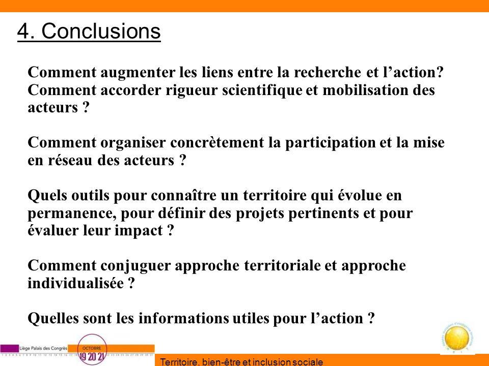 Territoire, bien-être et inclusion sociale 4. Conclusions Comment augmenter les liens entre la recherche et laction? Comment accorder rigueur scientif