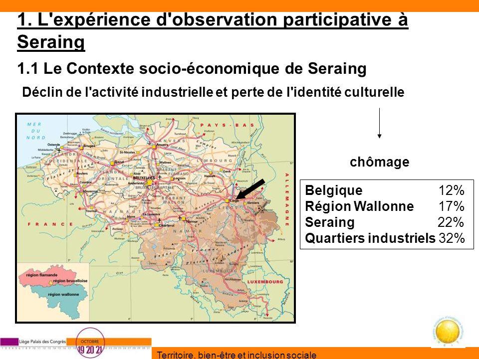 Territoire, bien-être et inclusion sociale 1. L'expérience d'observation participative à Seraing 1.1 Le Contexte socio-économique de Seraing Déclin de