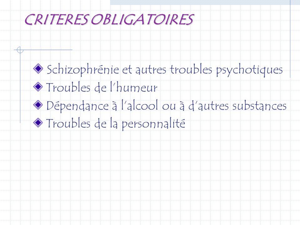 CRITERES OBLIGATOIRES Schizophrénie et autres troubles psychotiques Troubles de lhumeur Dépendance à lalcool ou à dautres substances Troubles de la pe