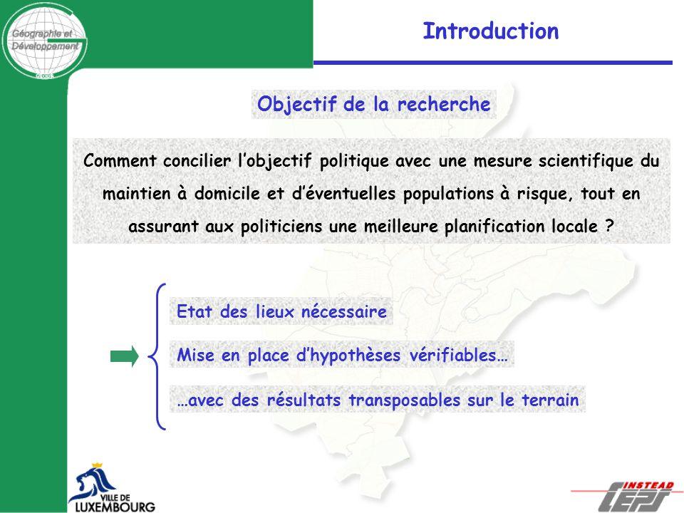 Introduction Objectif de la recherche Comment concilier lobjectif politique avec une mesure scientifique du maintien à domicile et déventuelles popula