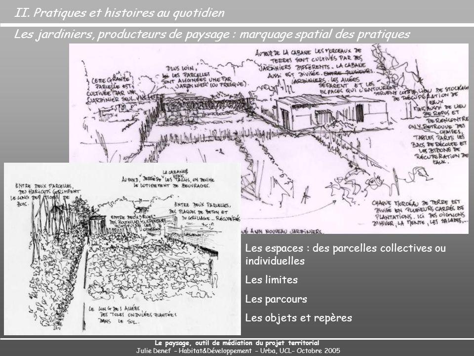Le paysage, outil de médiation du projet territorial Julie Denef – Habitat&Développement – Urba, UCL– Octobre 2005 Les jardiniers, producteurs de paysage : marquage spatial des pratiques II.