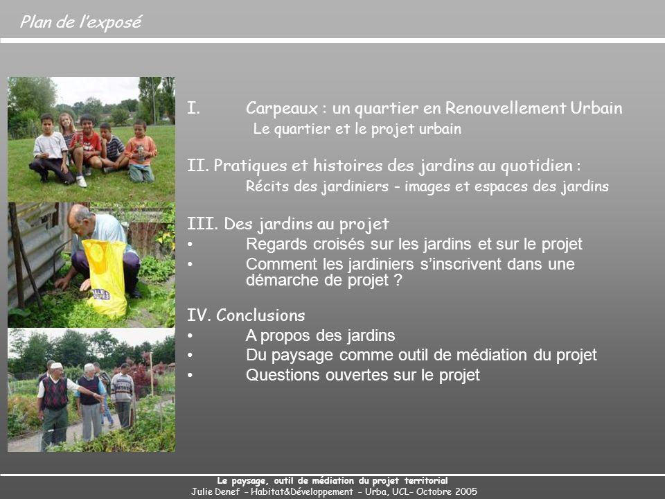 Plan de lexposé I.Carpeaux : un quartier en Renouvellement Urbain Le quartier et le projet urbain II. Pratiques et histoires des jardins au quotidien