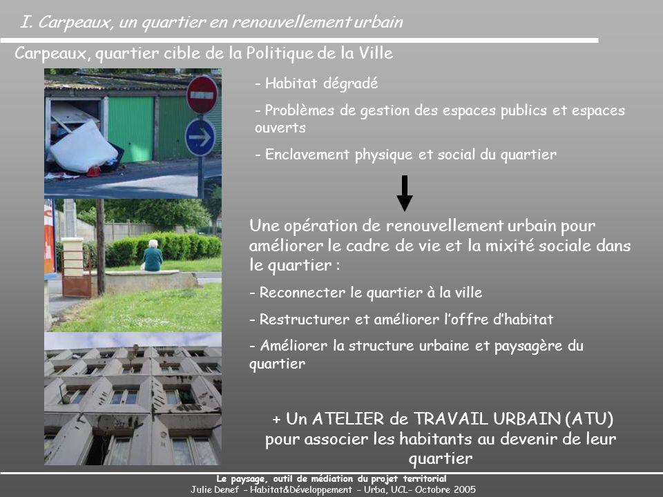 I. Carpeaux, un quartier en renouvellement urbain Le paysage, outil de médiation du projet territorial Julie Denef – Habitat&Développement – Urba, UCL