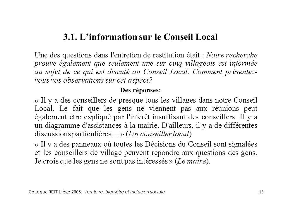 3.1. Linformation sur le Conseil Local Une des questions dans l'entretien de restitution était : Notre recherche prouve également que seulement une su