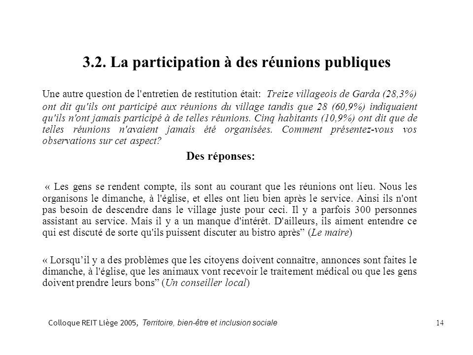 3.2. La participation à des réunions publiques Une autre question de l'entretien de restitution était: Treize villageois de Garda (28,3%) ont dit qu'i