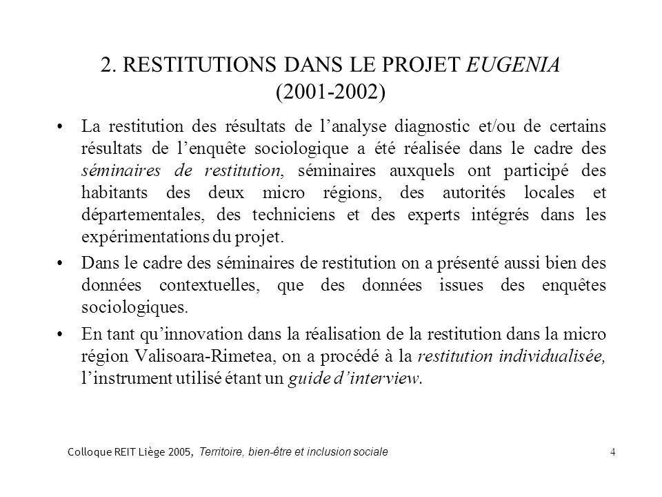 2. RESTITUTIONS DANS LE PROJET EUGENIA (2001-2002) La restitution des résultats de lanalyse diagnostic et/ou de certains résultats de lenquête sociolo