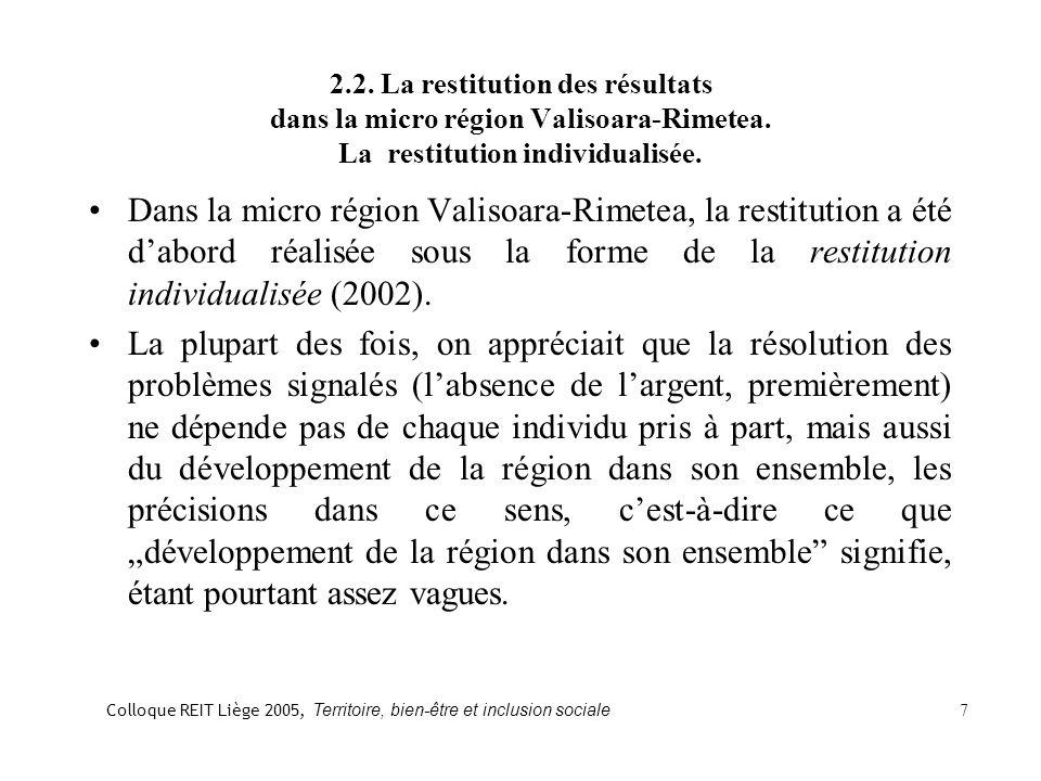 2.2. La restitution des résultats dans la micro région Valisoara-Rimetea.