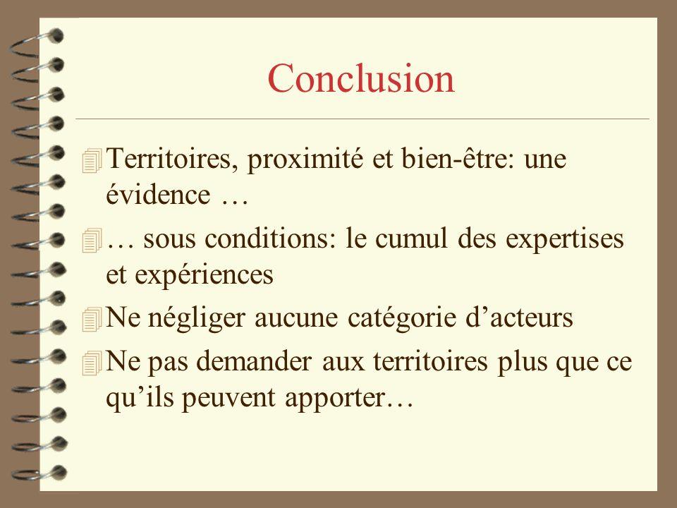 Conclusion 4 Territoires, proximité et bien-être: une évidence … 4 … sous conditions: le cumul des expertises et expériences 4 Ne négliger aucune catégorie dacteurs 4 Ne pas demander aux territoires plus que ce quils peuvent apporter…